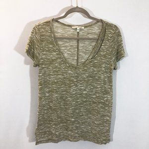 Express One Eleven Heathered Olive Green Vneck Tee